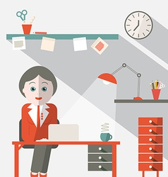 Secretary in office flat design vector