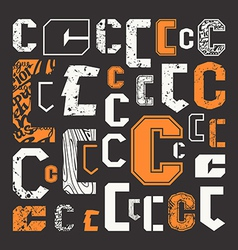Set versions of letters c vector