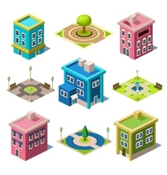 Set of the isometric city buildings and shops vector
