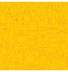 Thin line holiday christmas yellow seamless vector