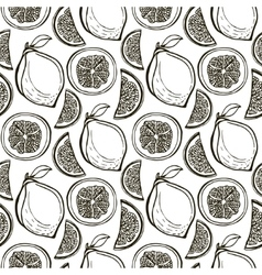 Hand drawn cute lemons pattern seamless vector
