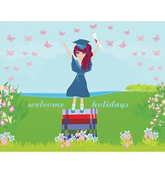 A young graduate girl holding diploma vector
