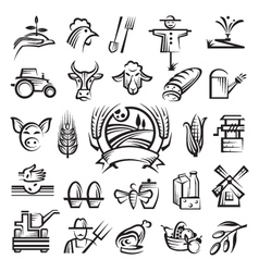 agriculture and farming icons vector image