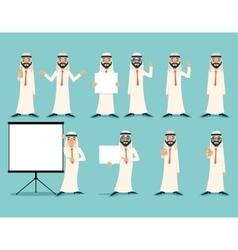 Arab businessman retro vintage successful working vector