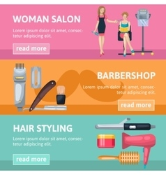 Beauty salon banners set vector