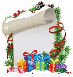 Christmas presents and christmas wreath vector