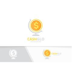 coin and globe logo combination money vector image