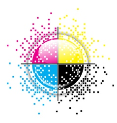 Creative CMYK pixelated design vector image