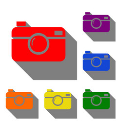 digital photo camera sign set of red orange vector image