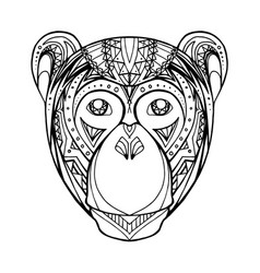 doodle monkey and boho pattern for your creativity vector image vector image