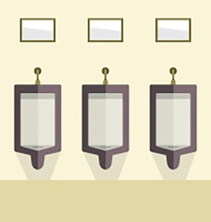 Flat design mens urinal row vector