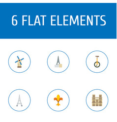 Flat icons tower cabaret unicycle and other vector
