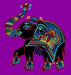 folk art indian elephant dot painting vector image vector image