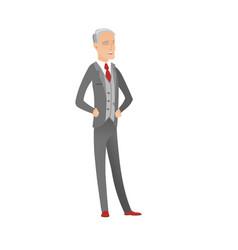 Gray senior caucasian businessman laughing vector