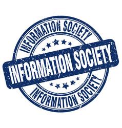 Information society blue grunge stamp vector