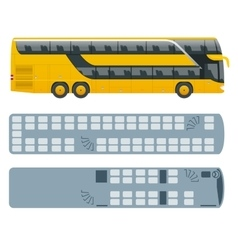 Isometric double decker bus or intercity and plan vector