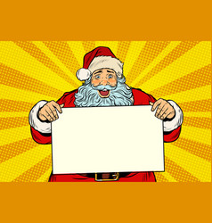 joyful santa claus with poster template vector image