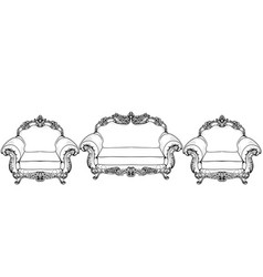 Living room furniture set baroque armchair with vector