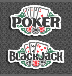 logo poker and black jack vector image vector image