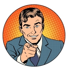 Man pointing finger in the circle vector