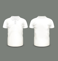 Mens white polo shirt short sleeve vector image