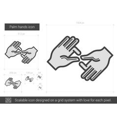 Palm hands line icon vector