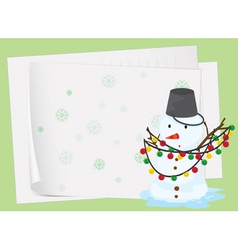 paper sheets and a snowman vector image vector image