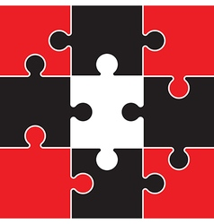 Red and black jigsaw vector