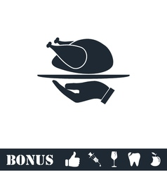 Roasted turkey icon flat vector image vector image