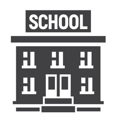 school building solid icon education and learn vector image
