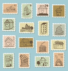 Set of doodled house stamps vector