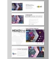 Social media and email headers set modern banners vector