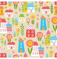 The of the houses and plants vector