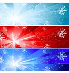 three banner with a snowflake vector image
