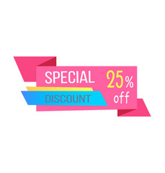Varicoloured special discount 25 percent off card vector