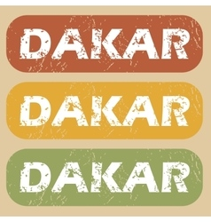 Vintage dakar stamp set vector