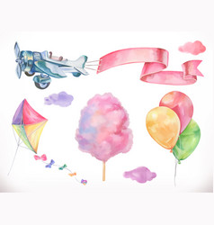 Watercolor air kite airplane cotton candy and vector