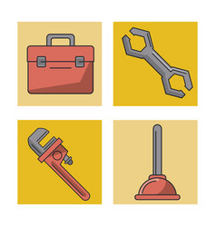 White background with frames of plumbing tools vector