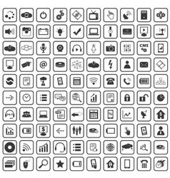 100 Hi-Tech icons set vector image