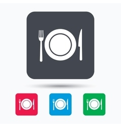 Dish fork and knife icons cutlery sign vector