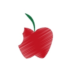 Hand colored drawing apple bite icon vector