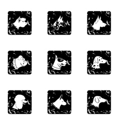 Doggy icons set grunge style vector