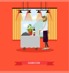 Waiter standing at table in vector