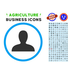 Client rounded icon with set vector