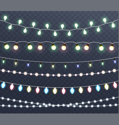 christmas glowing lights garlands vector image