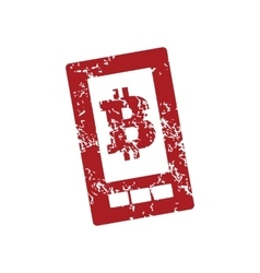 Bitcoin screen red grunge icon vector