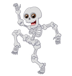 Halloween skeleton jumping with dance on isolated vector