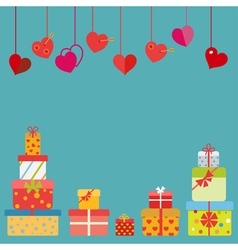 Hanging red hearts and gift boxes vector
