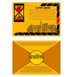 Brochure with urban landscape envelope vector