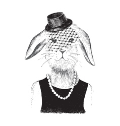 dressed up bunny girl in hipster style vector image